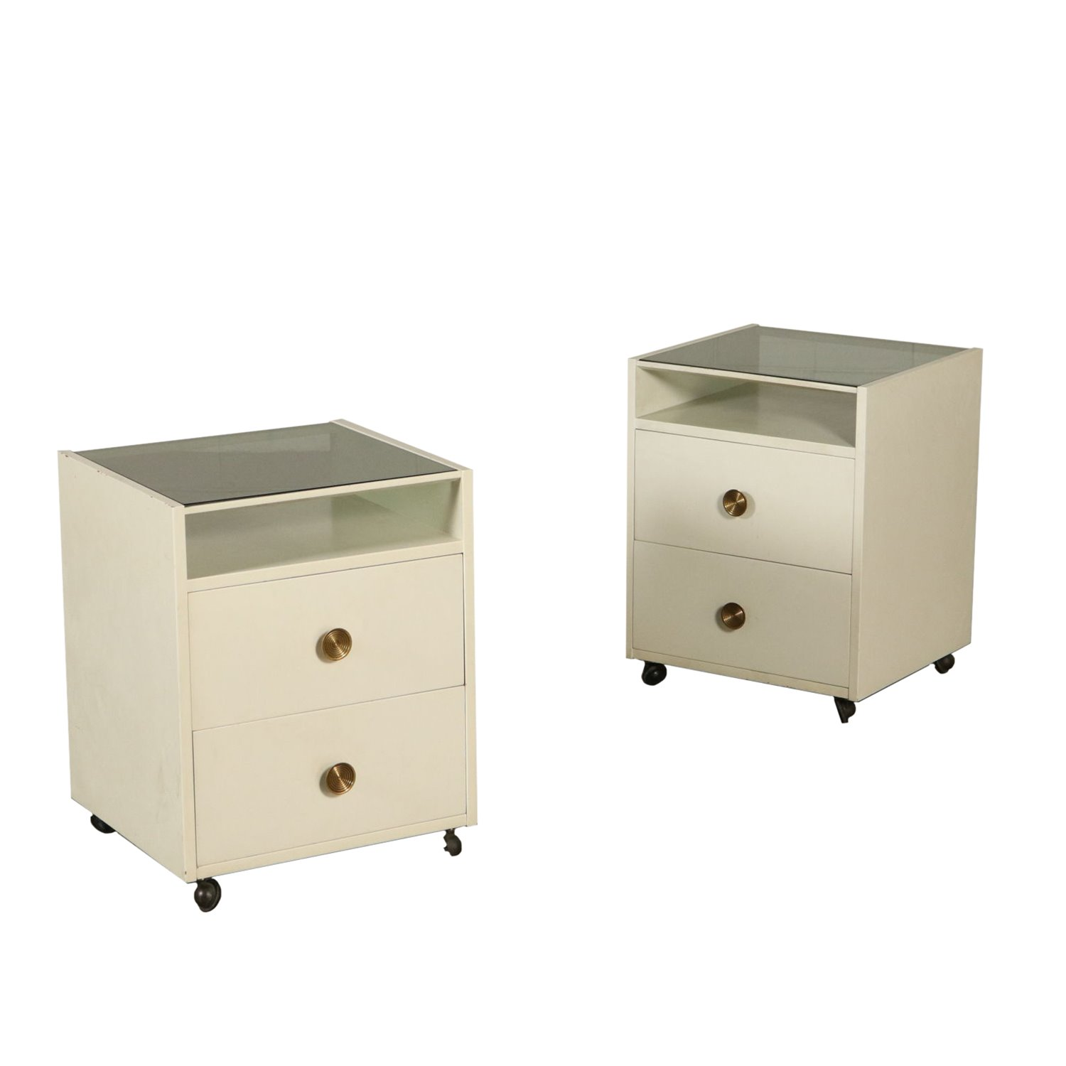 Pair Of Nightstands With Wheels By De Carli For Sormani Wood Glass 60s