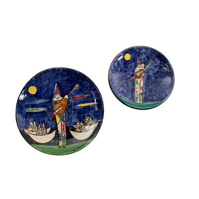 Ceramic Plate and Underplate with Polychrome Decoration Milan '900
