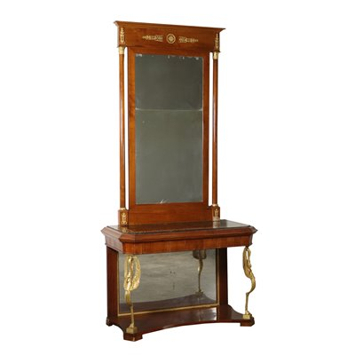 Console with Mirror Charles X Cherry Italy First Half of 1800s
