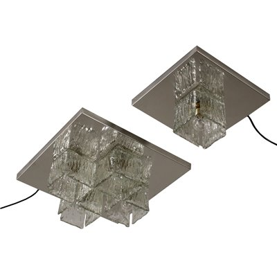 Pair of Wall Lights Chromed Metal Glass Vintage Italy 1960s