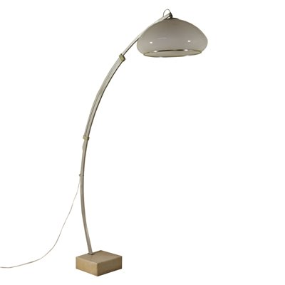 Floor Lamp with Extensible Arch Aluminium Methacrylate Marble 60s-70s