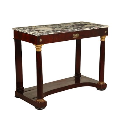 Empire Console Table Walnut Bronze Marble Top Italy Early 1800s