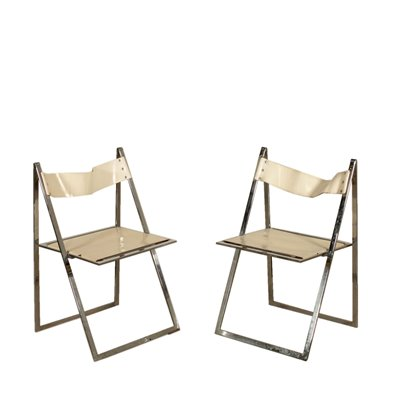 Pair of Folding Chairs for Elios Colle D'Elsa Vintage Italy 1970s